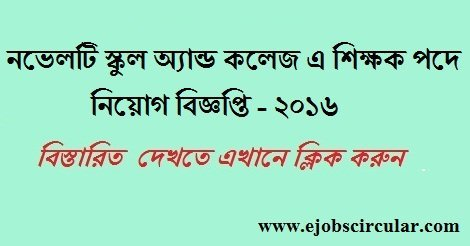 Novelty School and College Job Circular November 2016