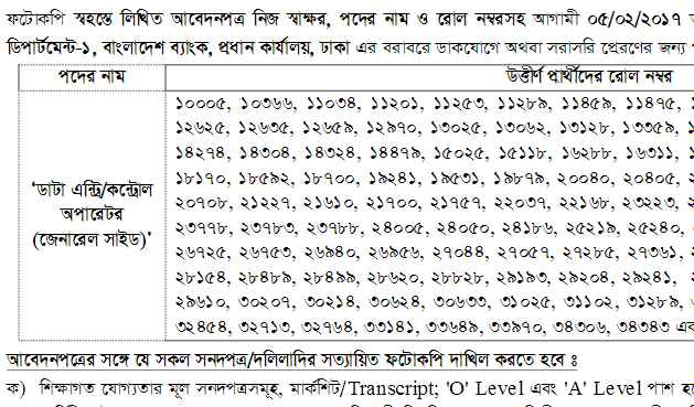 Bangladesh Bank General Side Result