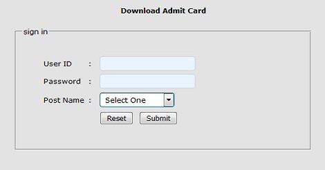 download BTB Admit Card