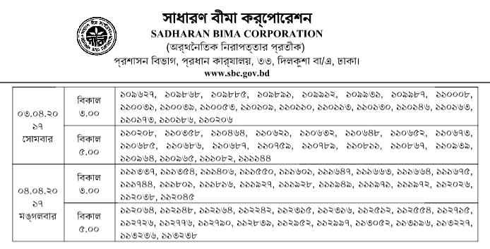 Sadharan Bima Corporation Viva Date
