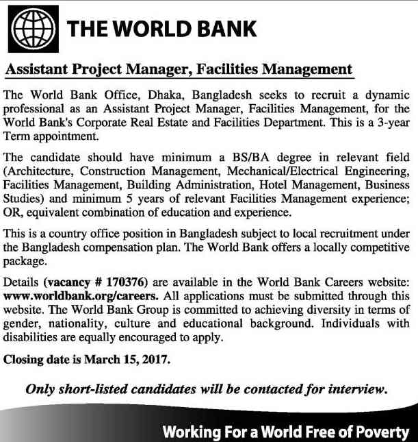 The World Bank Assistant Project Manager job