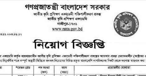 National Agricultural Training Academy NATA Job Circular – www.nata.gov.bd