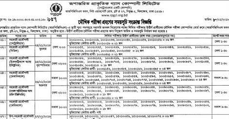 Rupantarita Prakritik Gas Company Limited Exam Notice