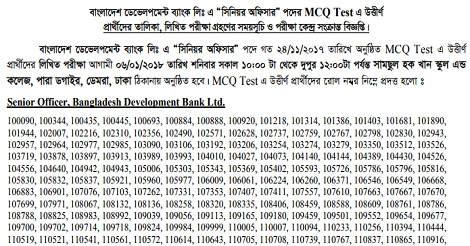 Bangladesh Development Bank BDBL MCQ Exam Result – bdbl.com.bd