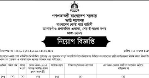 Bangladesh Coast Guard Job