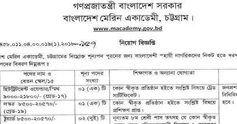 Bangladesh Marine Academy macademy Job circular – www.macademy.gov.bd