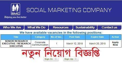 Social Marketing Company SMC Job circular – www.smc-bd.org