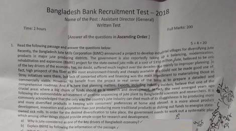 Bangladesh Bank question solution