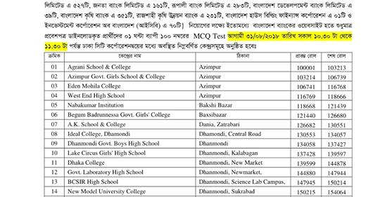 Bangladesh Bank MCQ Exam Date