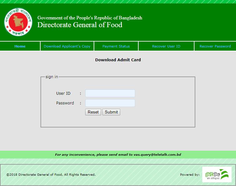 DGFOOD Admit Card