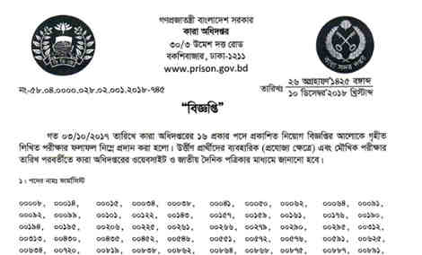 Bangladesh Jail Exam Result 2018
