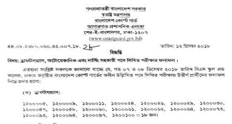 Bangladesh Coast Guard Job Result