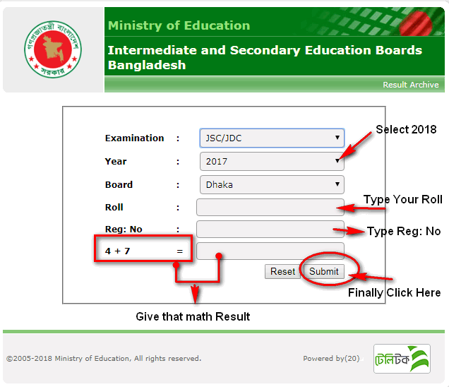 www.educationboardresults.gov.bd psc result 2018