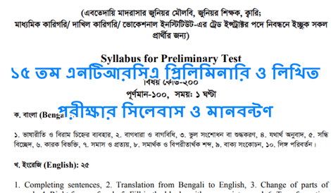 15th NTRCA Exam Syllabus And Marks Distribution 2019