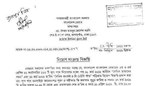 www.betar.gov.bd admit card