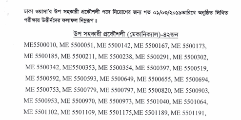DHAKA WASA Job Result 2019