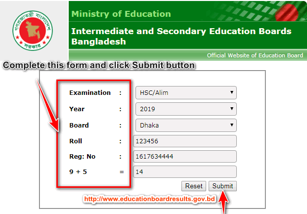 www.educationboardresults.gov.bd HSC Result 2019 Instruction