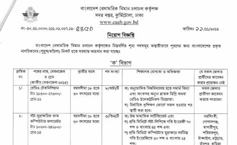 www.caab.gov.bd job circular