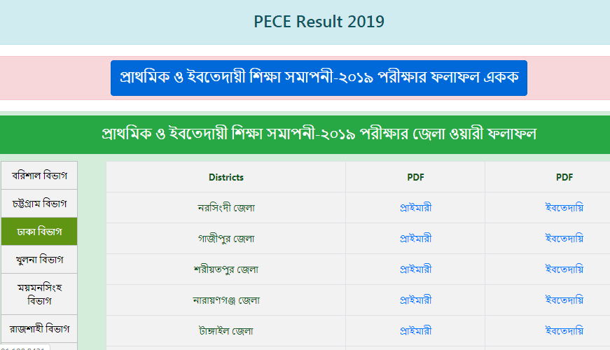 Division Wise PSC Result 2019