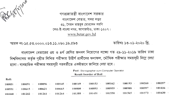 Bangladesh Betar Radio Written Exam Result