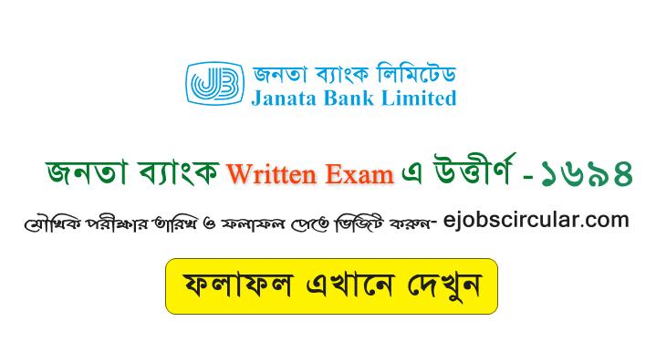 Janata Bank written result