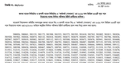 Rupali & Janata Bank Written Result