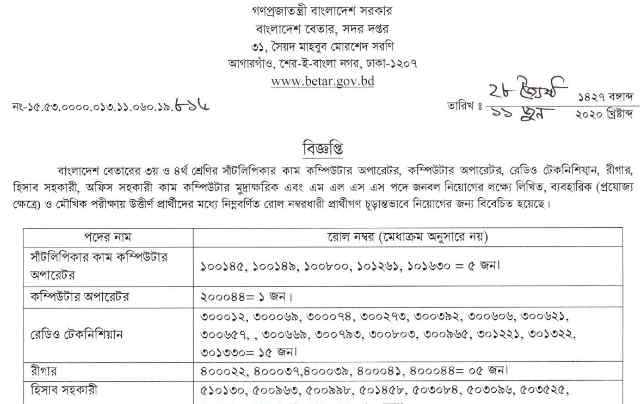 bangladesh betar radio job result
