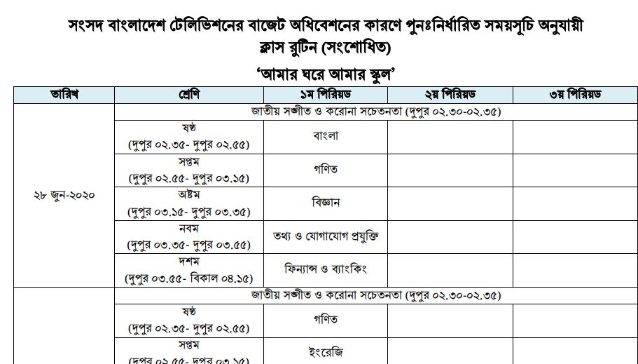Sangsad TV Class Routine 2020